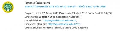 YÖS 2019 İstanbul Üniversitesi