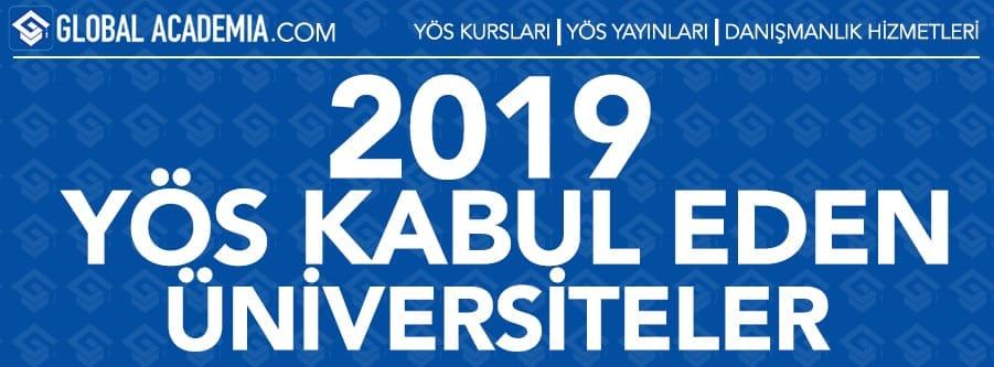 2019 YÖS Kabul Eden Üniversiteler
